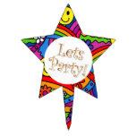 Hippie Rainbow Pattern Cake Picks