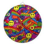 Hippie Rainbow Pattern Dartboard With Darts