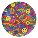 Hippie Rainbow Pattern Party Plate