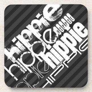 Hippie; Rayas negras y gris oscuro Posavaso