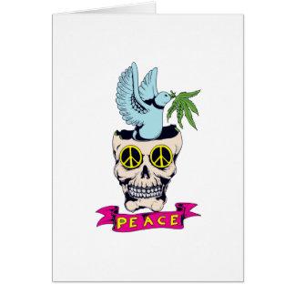 hippie retro peace skull vector art card