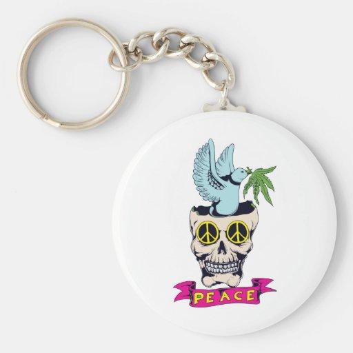 hippie retro peace skull vector art keychain
