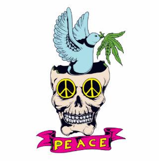 hippie retro peace skull vector art photo sculpture keychain