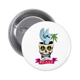 hippie retro peace skull vector art pinback button