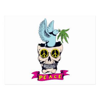 hippie retro peace skull vector art postcard