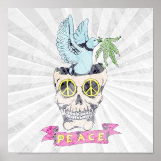 hippie retro peace skull vector art poster