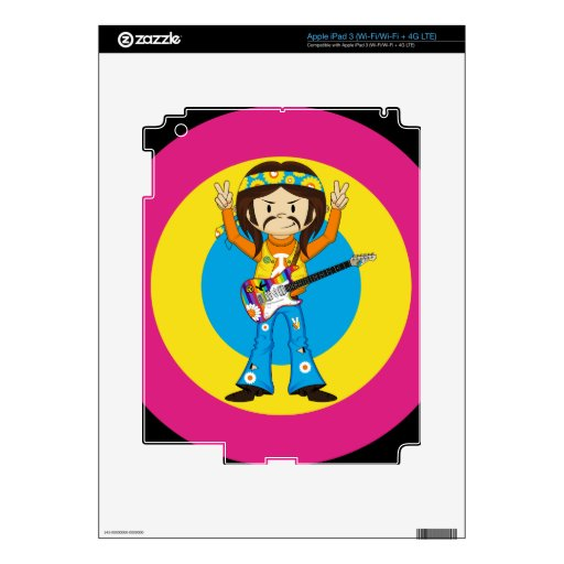 Hippie Rock Star with Guitar iPad 3 Skins
