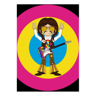 Hippie Rock Star with Guitar Large Business Card