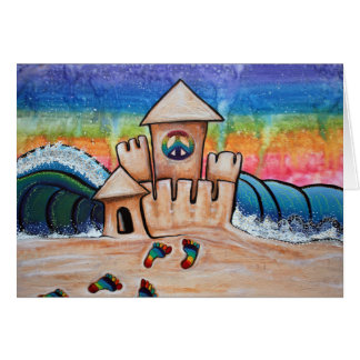 Hippie Sand Castle Greeting Card