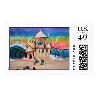 Hippie Sand Castle Postage Stamps