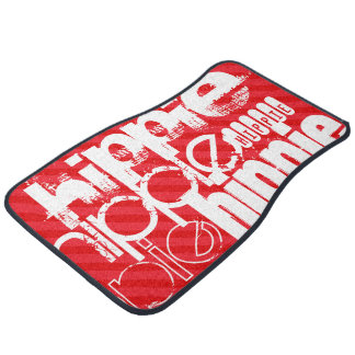 Hippie; Scarlet Red Stripes Floor Mat