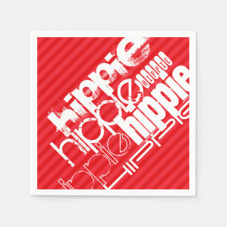 Hippie; Scarlet Red Stripes Paper Napkin