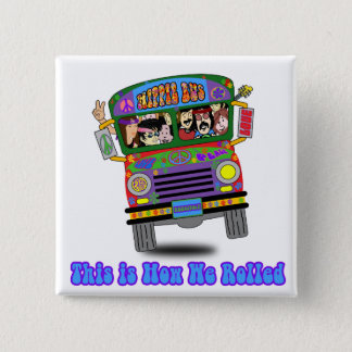 Hippie School Bus Button