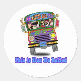 Hippie School Bus Classic Round Sticker