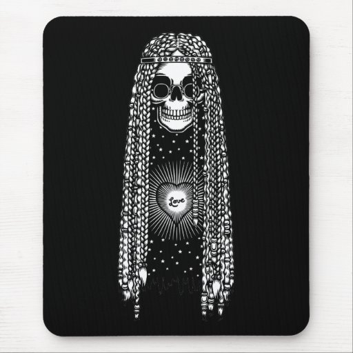 Hippie Skull of Love Mouse Pad
