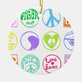 Hippie Stamps Ceramic Ornament
