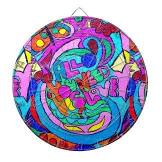 hippie style colorful dart boart dartboard with darts