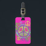 """Hippie Style Peace Sign Luggage Tag<br><div class=""""desc"""">Stand out  &amp; avoid mix ups with this fun Hippie Style Peace Sign Luggage Tag.  Personalize it!</div>"""