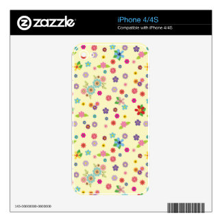 Hippie Summer Flowers Pattern Skins For The iPhone 4