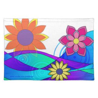 Hippie Trippy Flowers Cloth Placemat