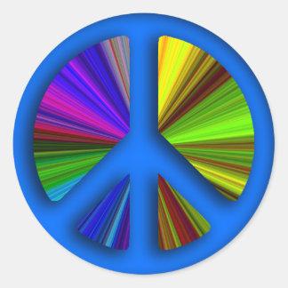 Hippie Trippy Peace Sign Classic Round Sticker