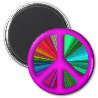 Hippie Trippy Peace Sign 2 Inch Round Magnet