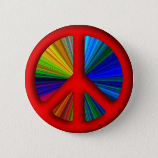 Hippie Trippy Peace Sign Pinback Button
