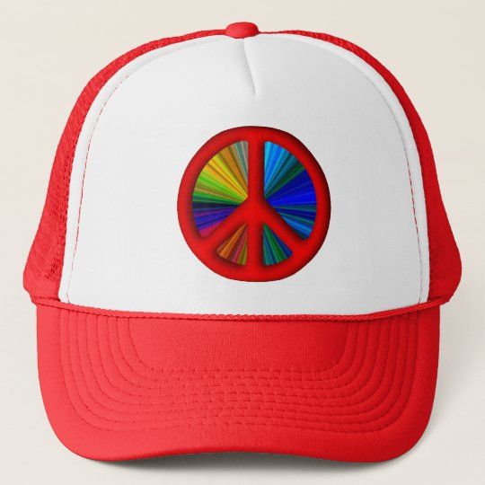 Hippie Trippy Peace Sign Trucker Hat