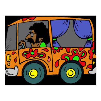 Hippie Van de los años 60 Tarjeta Postal