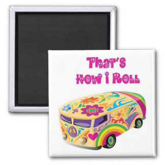 hippie van retro  how i roll 2 inch square magnet