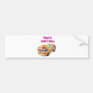 hippie van retro  how i roll car bumper sticker