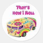hippie van retro  how i roll classic round sticker