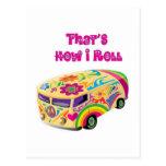 hippie van retro  how i roll postcard