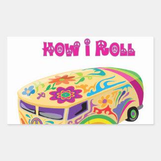 hippie van retro  how i roll round sticker
