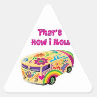 hippie van retro  how i roll round stickers