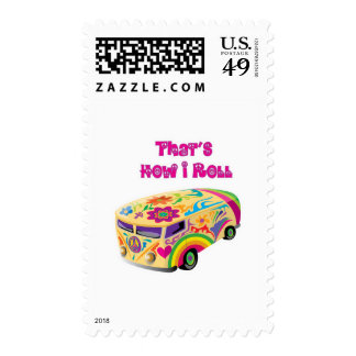 hippie van retro  how i roll stamp
