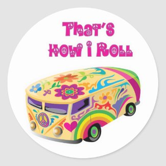hippie van retro how i roll sticker