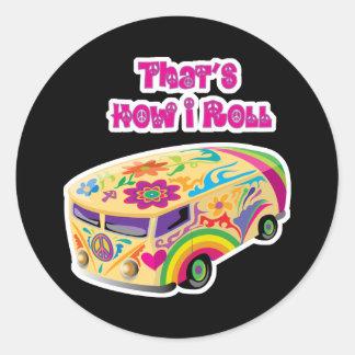 hippie van retro  how i roll stickers