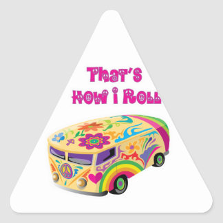 hippie van retro  how i roll triangle sticker