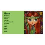Hippie verde con la venda del signo de la paz tarjetas de visita