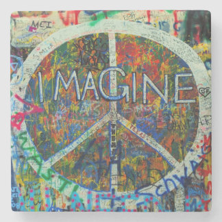 Hippie Wall Art Stone Beverage Coaster