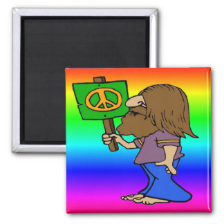 Hippie With Peace Sign 2 Inch Square Magnet