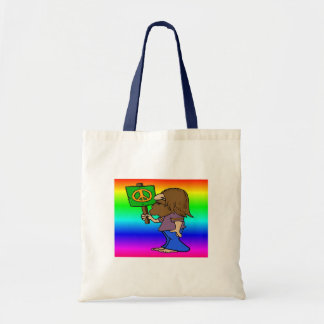 Hippie With Peace Sign Budget Tote Bag