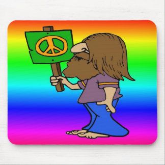 Hippie With Peace Sign Mouse Pad
