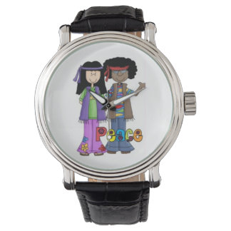 Hippies 1960 Far-Out Peace Watch (Black Strap)