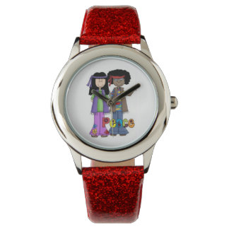 Hippies 1960 Far-Out Peace Watch (Red Strap)