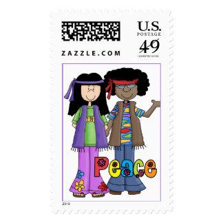 Hippies de los niños de flor del amor de n de la sellos