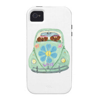Hippies del Dachshund en su móvil del amor de la f iPhone 4 Carcasa