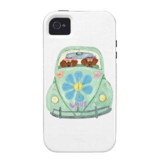 Hippies del Dachshund en su móvil del amor de la iPhone 4 Carcasas