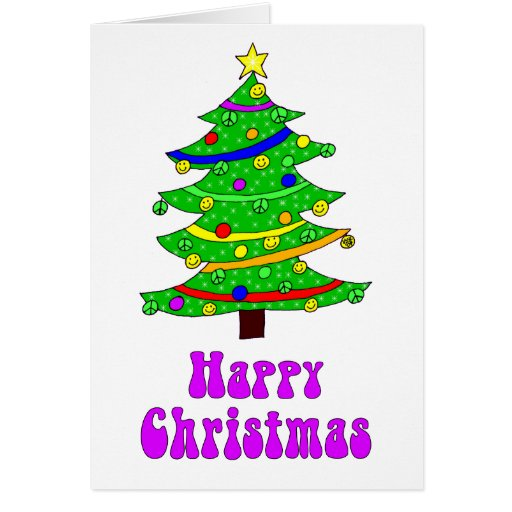 Hippie s happy christmas tree greeting card zazzle